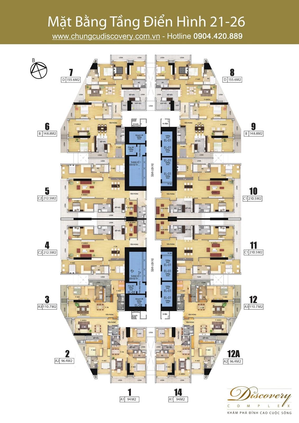 Mặt bằng chung cư Discovery Complex 302 Cầu Giấy tầng 21 đến 26