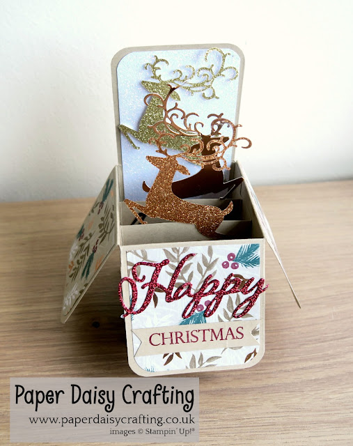 Detailed deer card in a box pop up Stampin Up