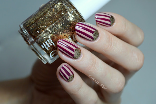 nailbox october sparkle stripes chevron glitter gold regal