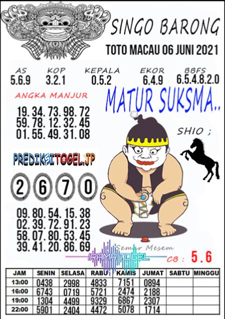 Syair Top Singo Barong Toto Macau Minggu 06 Juni 2021