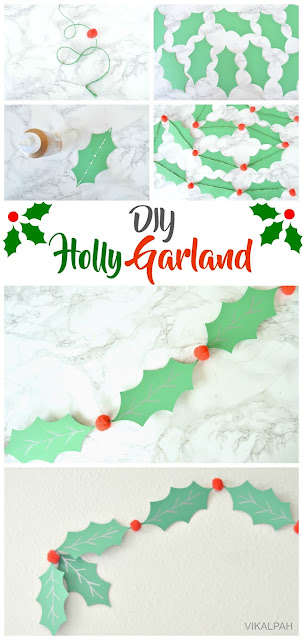 how to make a holly garland using cardstock and pompoms