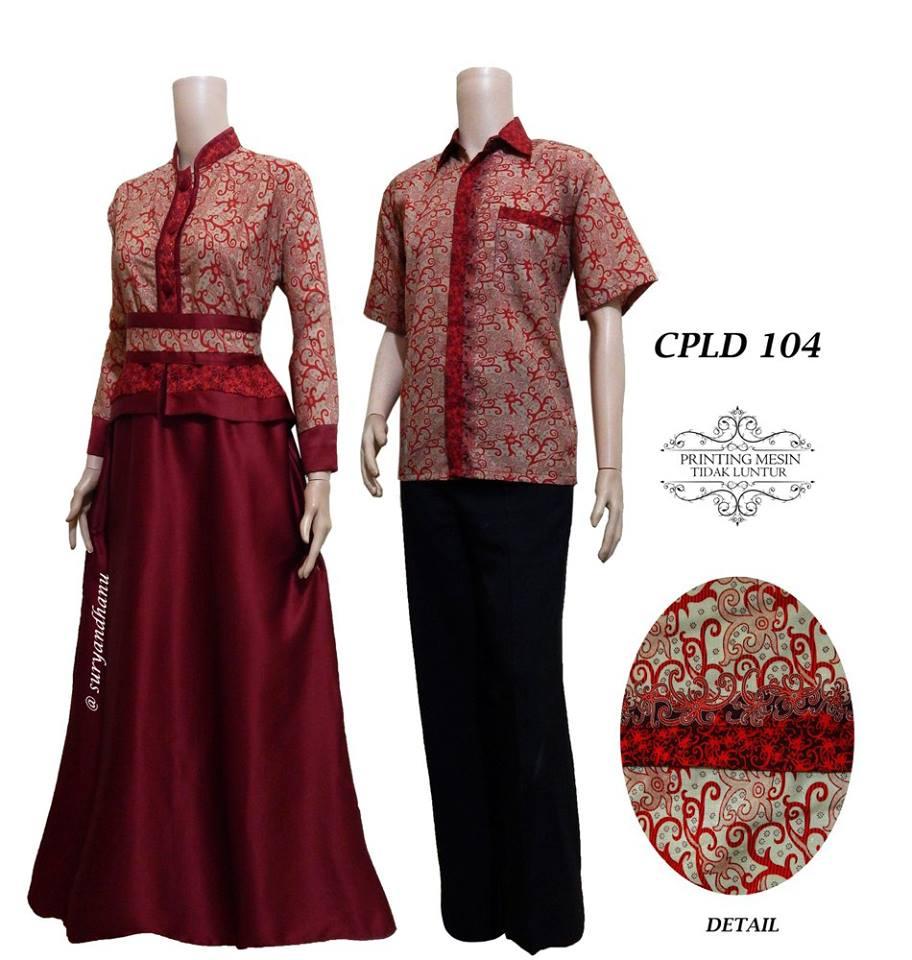 Baju Batik Couple Gamis Semi Sutera Terbaru 2016 Cpld 104