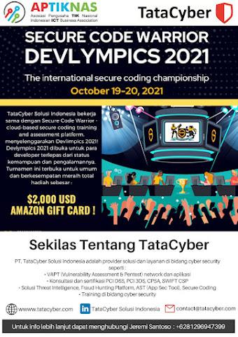 APTIKNAS mendukung Secure Code Warrior DEVLYMPICS 2021