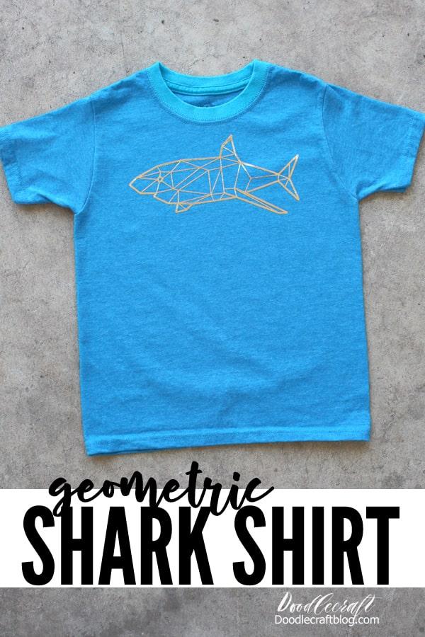 Geometric Gold Foil Shark Shirt with Cricut for Shark Week!