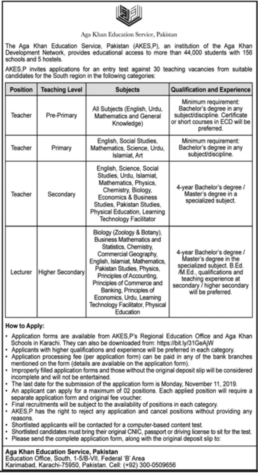 Agha Khan Education Service Pakistan Jobs 2019 Latest