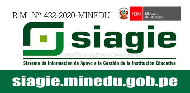 RM Nº 432-2020-MINEDU Norma del SIAGIE