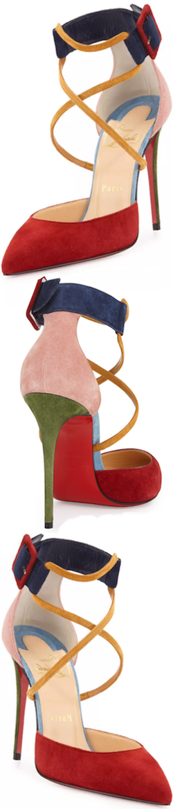 Christian Louboutin Suzanna Colorblock Crisscross Red Sole Pump, Multi