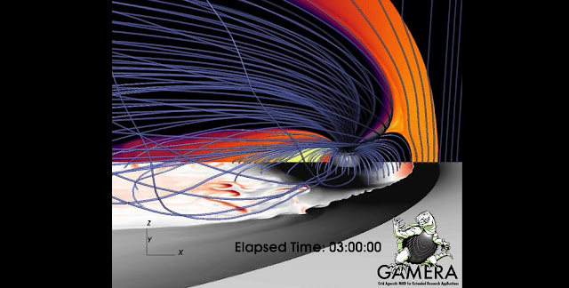 An image from a magnetohydrodynamic simulation by the Gamera project at the Johns Hopkins Applied Physics Laboratory shows bursty flows (in red and brown) in the plasma sheet. Rice University space plasma physicists developed algorithms to measure the buoyancy waves that appear in thin filaments of magnetic flux on Earth's nightside. (Credit: K. Sorathia/JHUAPL)