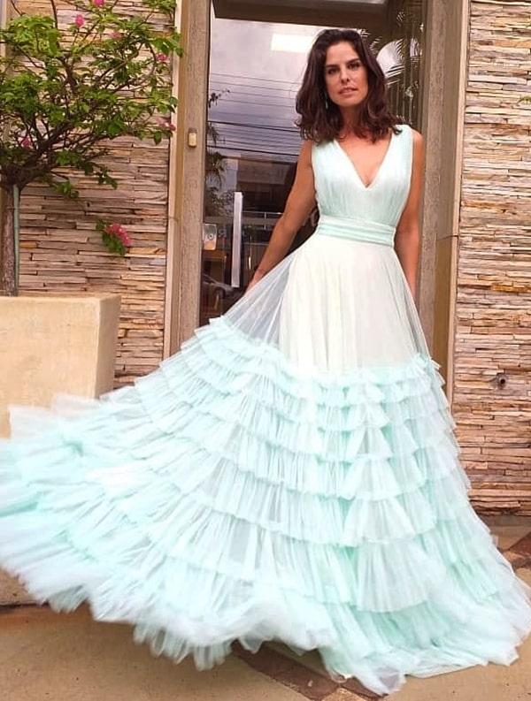 vestido de festa verde claro para madrinha de casamento