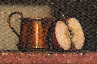 Still life oil painting of a small copper jug beside half an apple.