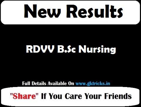 RDVV B.Sc Nursing Result