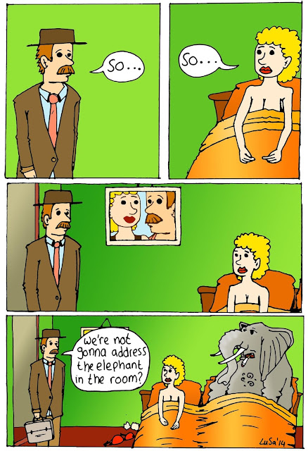 Funny Elephant In The Room Cartoon Picture