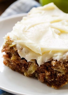 German Apple Cake has chunks of fresh apple, lots of fall spices, crunchy pecans, and a thick layer of cream cheese frosting