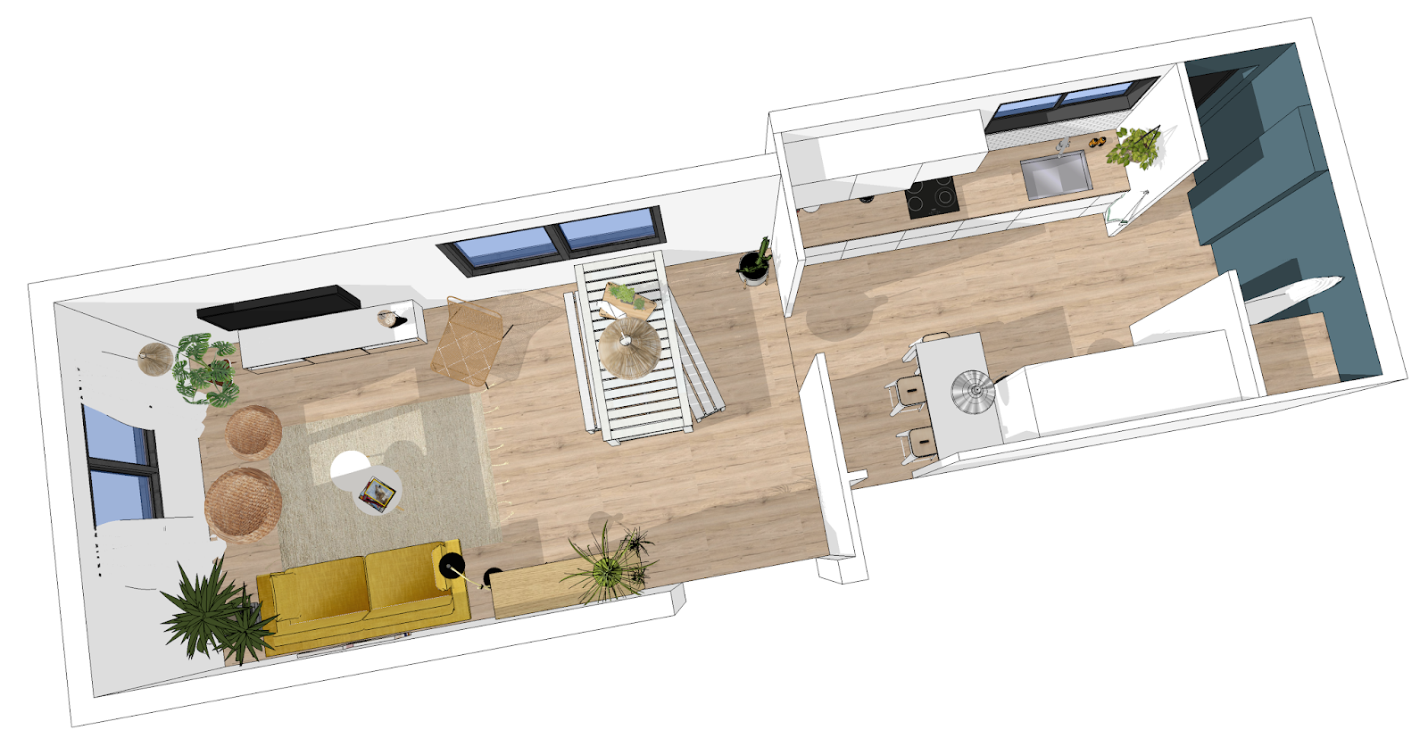 décoration d'intérieur - aix en provence - ilaria fatone- maison paulette - pièce de vie 3D