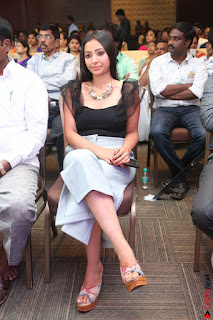 Swetha Basu in a Black Sleeveless Top Long Skirt at Mixture Potlam Movie Audio Launch 066.JPG