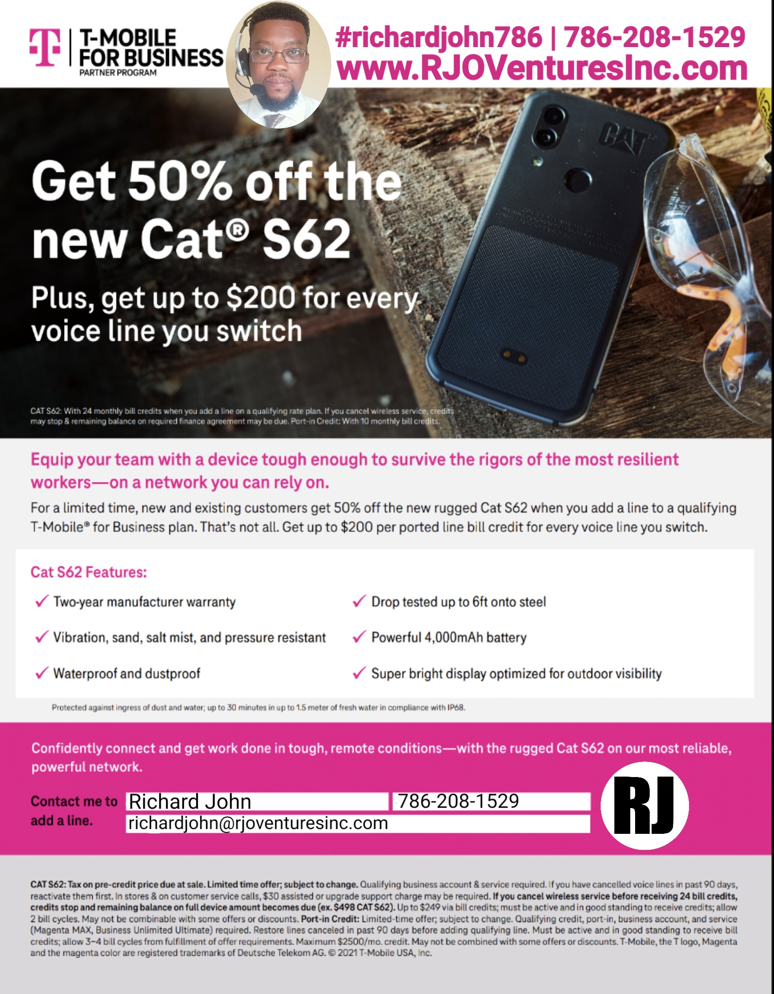 T-Mobile: Get 50% off the new Cat S62. Plus, get up to $200 for every voice line you switch [RJOVenturesInc.com]
