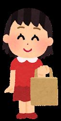 紙袋を持つ人のイラスト(女の子)