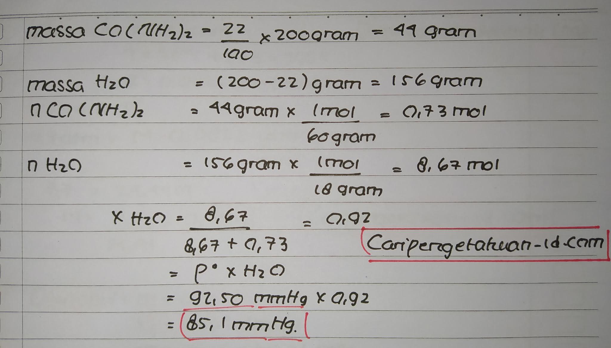 Suatu larutan yang mengandung 22% massa urea (CO(NH2)2), Jika tekanan uap jenuh air pada temperatur adalah 92.50 mmHg dan massa larutan 200 gram. Maka tekanan uap jenuh larutan tersebut adalah