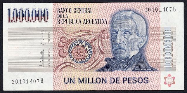 Argentina Banknotes 1000000 Pesos banknote 1983 General Jose de San Martin