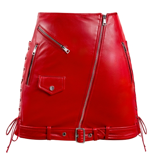 Red Leather Mini Skirt With Zippers and Pockets
