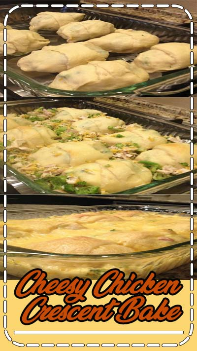 Today's recipe is all about comfort...Cheesy Chicken Crescent Bake! CHEESY CHICKEN CRESCENT BAKE - Crescent rolls stuffed with chicken, broccoli and cheddar cheese, baked, then smothered in a cheesy