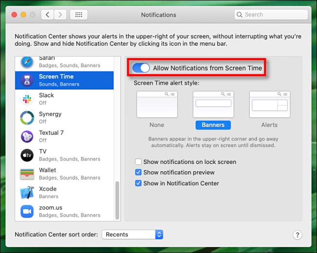 """في تفضيلات الإشعارات لوقت الشاشة ، انقر على """"السماح بالإشعارات من وقت الشاشة"""" لإيقاف تشغيله."""