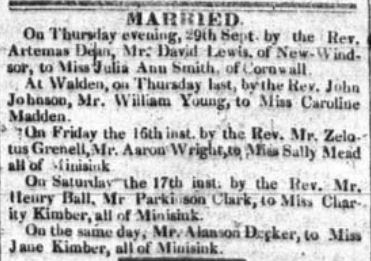 Marriages published Newburgh Telegraph October 6, 1831