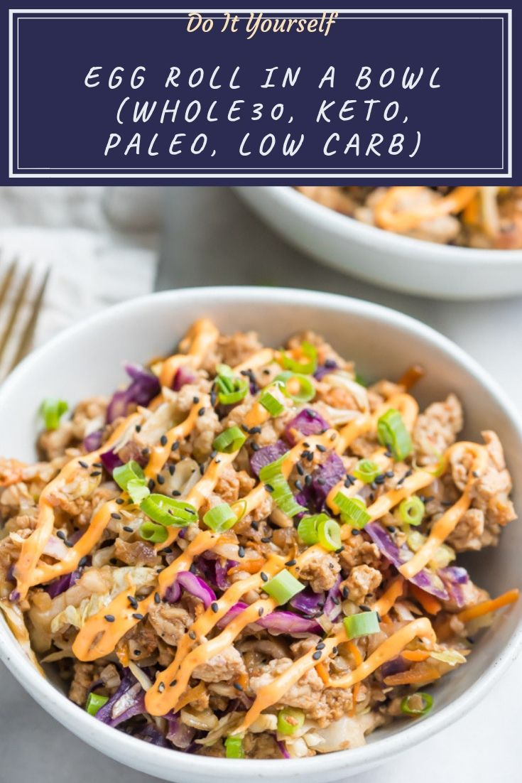 This Whole30 egg roll in a bowl with creamy chili sauce is a wonderfully flavorful, quick Whole30 recipe. This low carb, keto, and paleo recipe is an addictive Asian dinner the whole family will love. Made in one skillet.