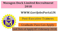 Mazagon Dock Limited Recruitment 2018– Executive Trainees