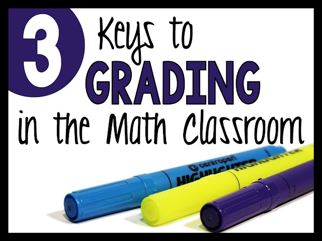 3 keys to grading in the math classroom with 3 markers