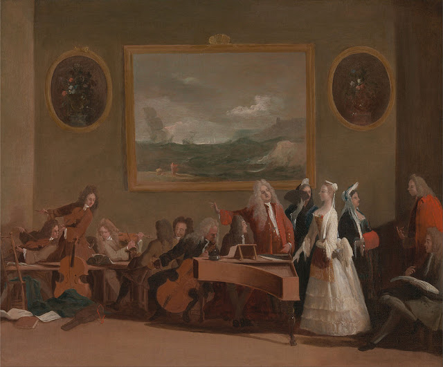 Margherita de l'Épine (with a red muff), Catherine Tofts (in white), and some opera musicians (Rehearsal of an opera, by Marco Ricci, ca. 1709)