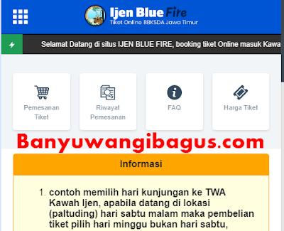 Tampilan web pemesanan tiket masuk TWA Kawah Ijen