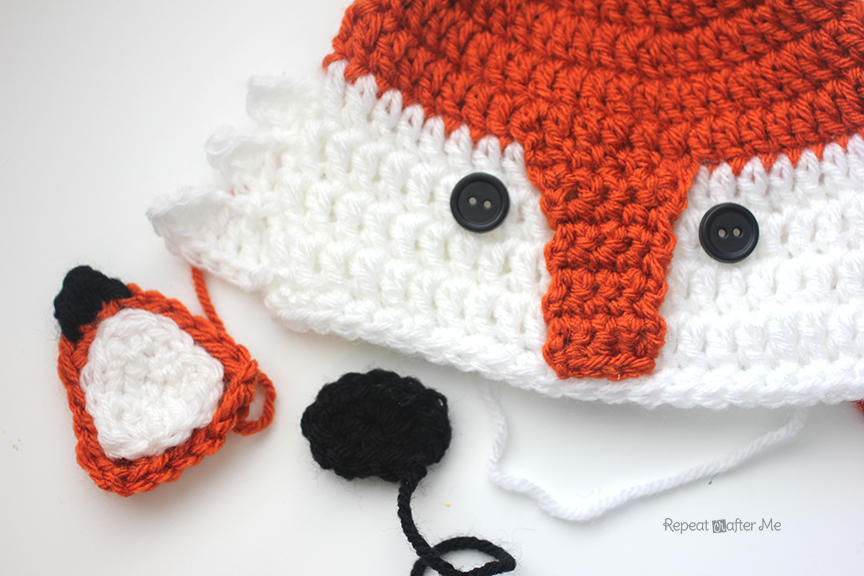 Small Ears (0-12 month size hats) Make 2  Starting with orange yarn… Chain  9 1a00ed4ee21