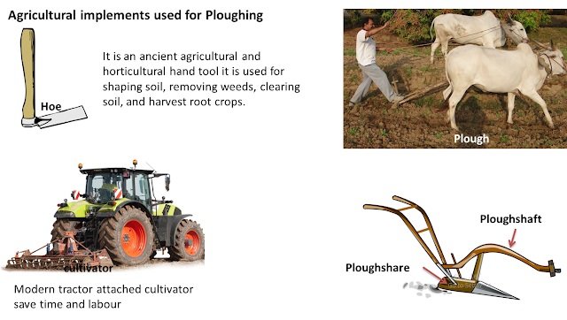Ploughing tools, crop production and management