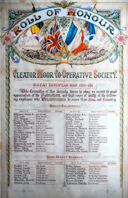 Cleator Moor Co-Operative Society, First World War, Roll Of Honour