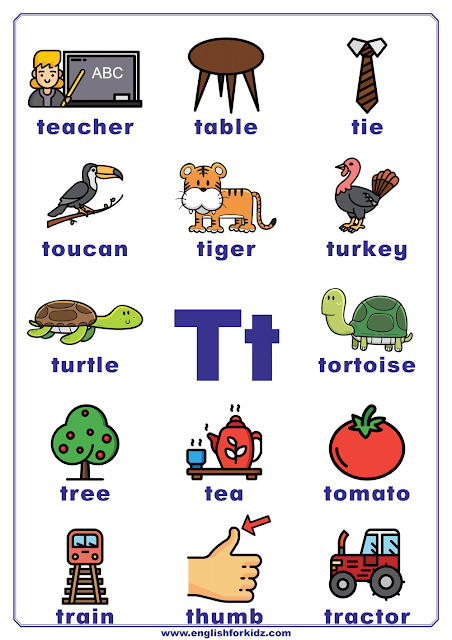 English alphabet poster - letter T