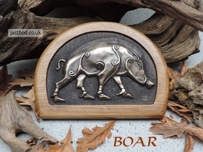 Pictish Boar Wall Plaque in Bronze & Oak