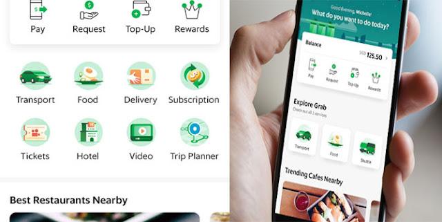 Seperti Go-Jek, Grab juga menawarkan layanan untuk memesan taksi online bernama GrabCar. Tidak hanya itu, Grab juga menyediakan layanan untuk melayani pelanggan yang memesan makanan. Layanan Makanan Grab disebut GrabFood.