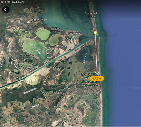 Google Earth straight distance from Boca Chica to South Padre Island (Source: Palmia Observatory)