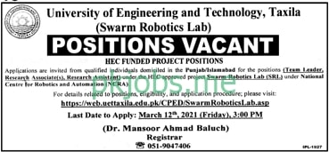 Latest University of Engineering & Technology Research Posts 2021