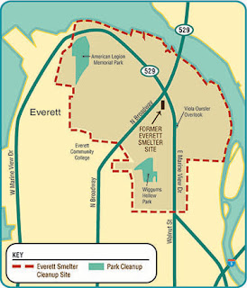 Map of Everett Smelter Plume cleanup area, with three parks labeled: American Legion, Wiggums Hollow and Viola Oursler Overlook.