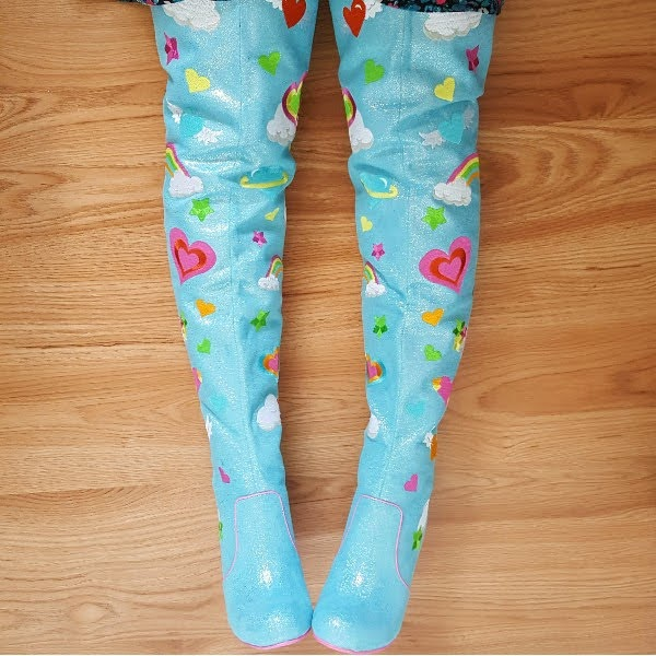sky blue over the knee boots with colourful embroidery