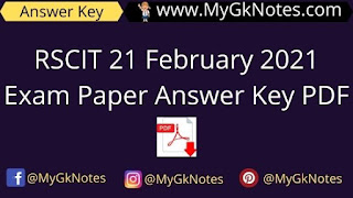RSCIT 21 February 2021 Exam Paper Answer Key PDF