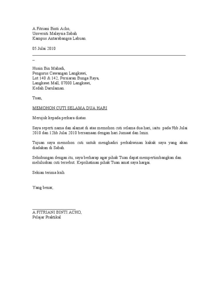 Contoh Surat Rasmi Memohon Cuti Sekolah Anak Rasmi Re Cute766
