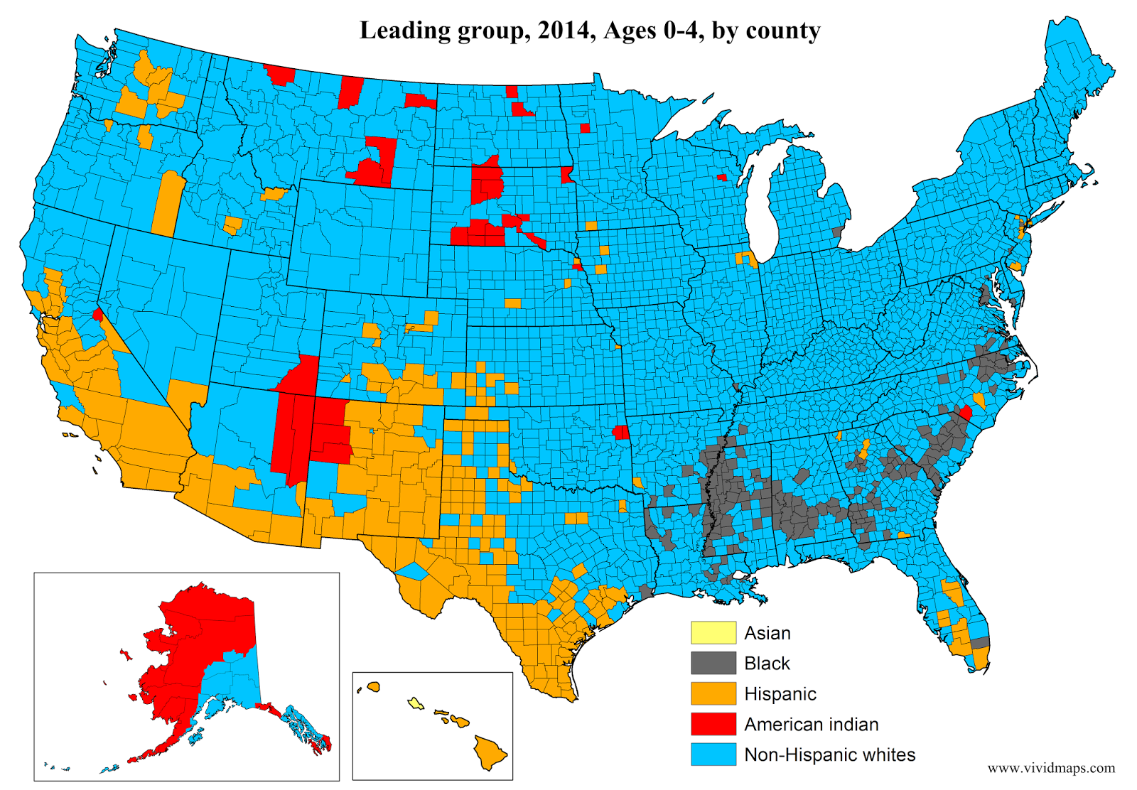 Leading group, Ages 0-4, by county