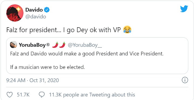 Davido drums support for Falz as President and himself as Vice President