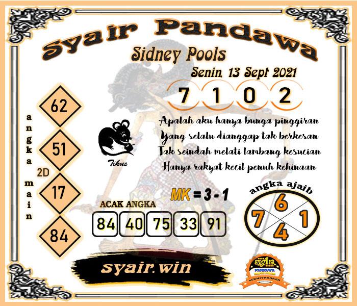 Syair Pandawa Sydney Senin 13-09-2021