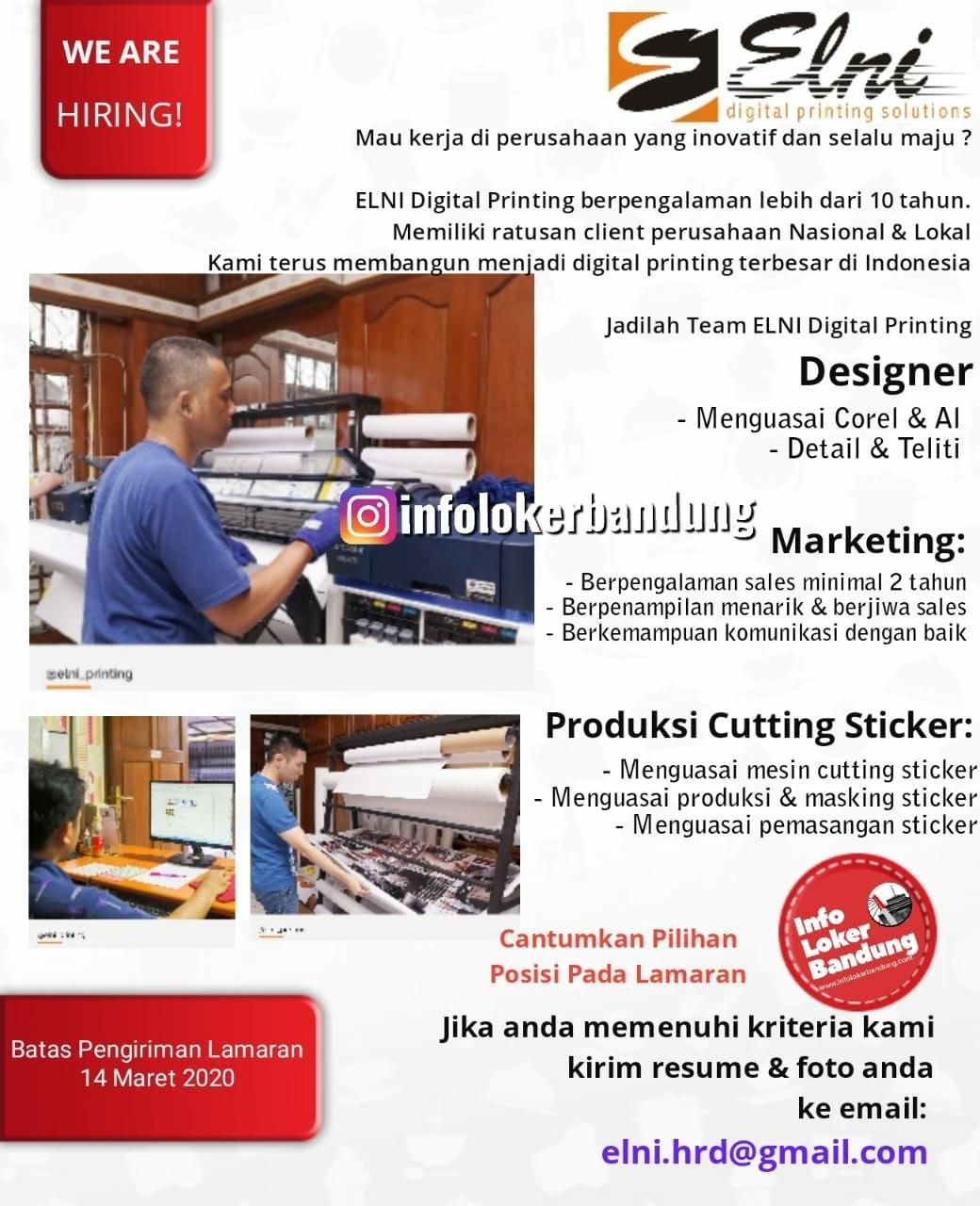 Lowongan Kerja PT. Elni Digital Printing Bandung Maret 2020