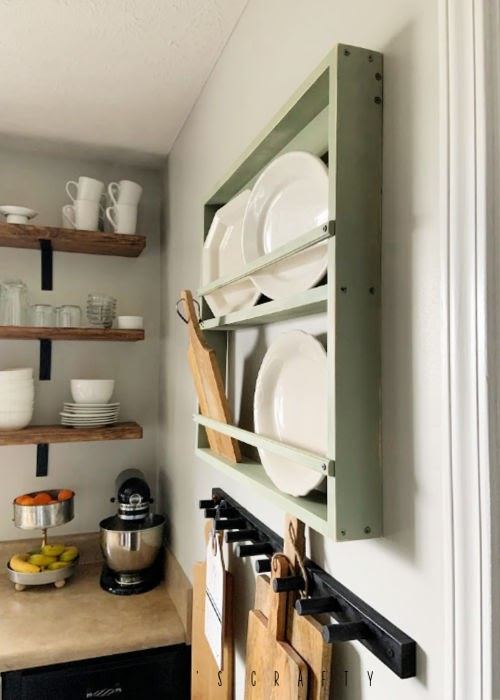 Wall mounted dish rack  |  Platter holder  |  farmhouse kitchen
