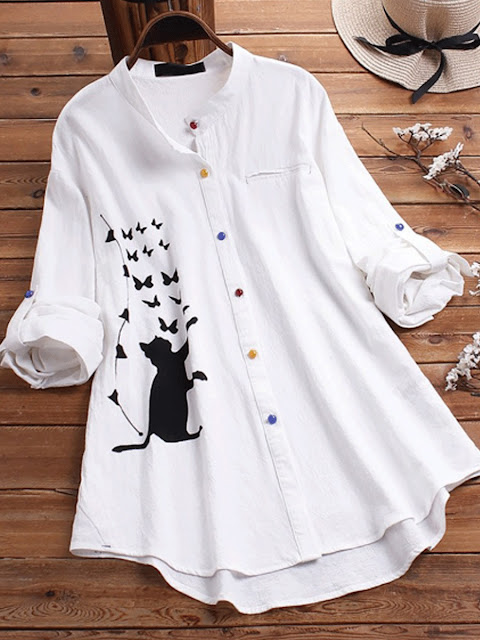 Cat print Long Sleeve Colorful Button Blouse